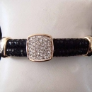 28B - Black Leather Bracelet with Micro-Pave CZ Enchancer & Gold Insets