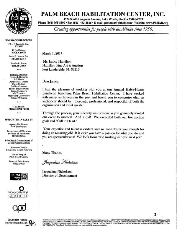 palm beach letter hamilton fundraising auctions 13547 | Habilitation Center of Palm Beach letter